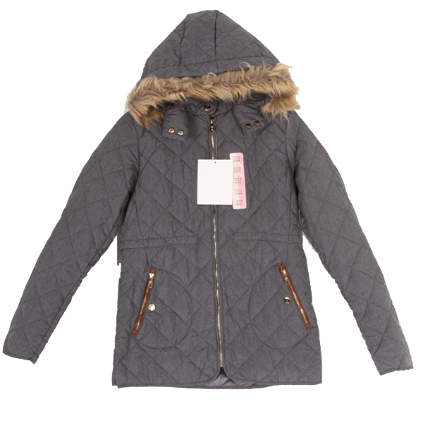 Grey Color Padded Coat